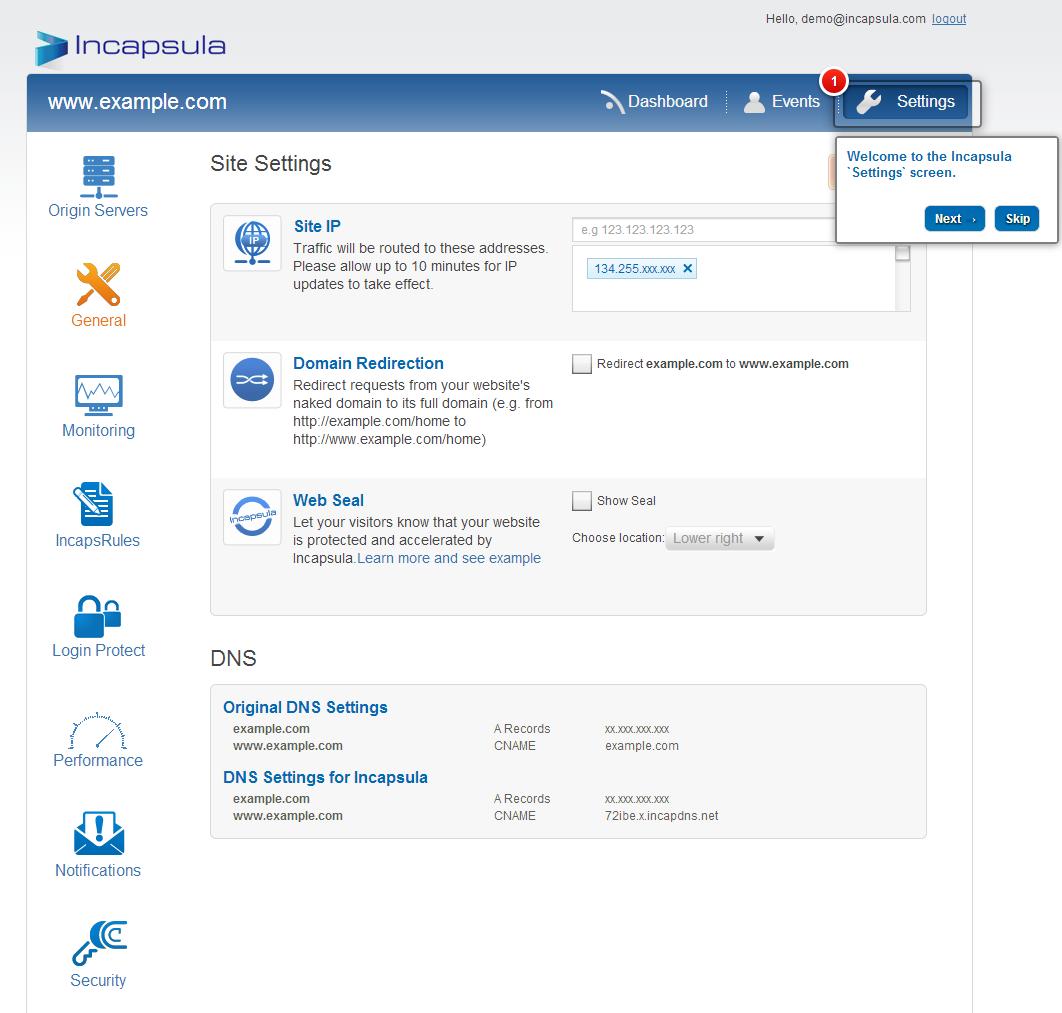 Incapsula Enterprise demo settings