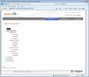 Avenda Quick1X configuration screen