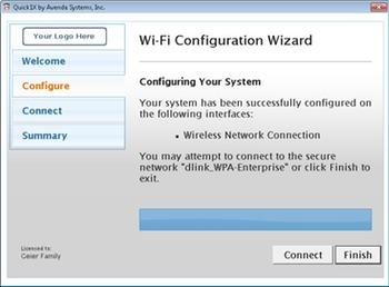 Avenda Quick1X Wi-Fi wizard confirmation screen